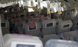 This image released by the National Transportation Safety Board shows the interior of the Boeing 777 Asiana Airlines Flight 214 aircraft.