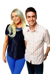 In this undated supplied publicity photo 2Day FM radio presenters Mel Greig, left, and Michael Christian pose.