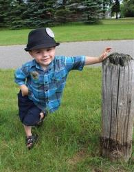 Bobby Tufts, the 4-year-old mayor of Dorset, Minn., poses for a photo.