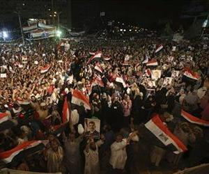 Supporters of ousted Egypt's President Mohammed Morsi demonstrate after the Iftar prayer in Nasr City, Cairo, Egypt, July 10, 2013.