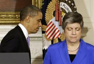 President Obama with Janet Napolitano, Tuesday, May 21, 2013, in the State Dining Room of the White House.