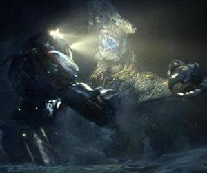 This film publicity image released by Warner Bros. Pictures shows the Gipsy Danger robot battling the Knifehead monster in a scene from Pacific Rim.