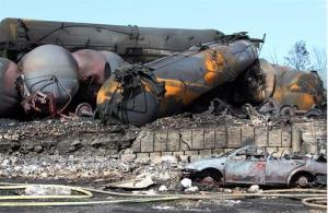Wecked oil tankers and debris from the runaway train in Lac-Megantic, Quebec, Canada.