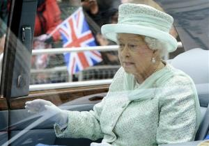 Britain's Queen Elizabeth II departs from her Diamond Jubilee service of thanksgiving at St Paul's Cathedral.