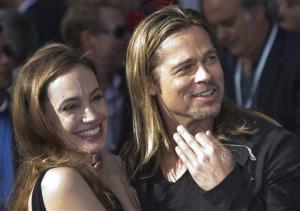 Brad Pitt and Angelina Jolie arrive for the World Premiere of World War Z at a central London cinema, Sunday, June 2, 2013.