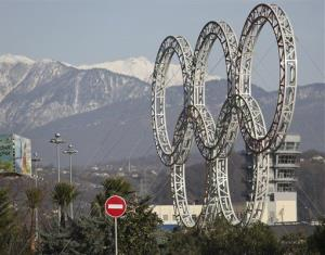 Olympic rings for the 2014 Winter Olympics are installed in the Black Sea resort of Sochi, southern Russia.