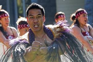 A traditional Maori welcome ceremony is performed in Auckland, New Zealand.