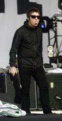 Liam Gallagher of Beady Eye performs on the Other Stage at the Glastonbury Music Festival site at Glastonbury, England on Friday, June 28, 2013.