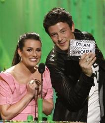 Lea Michele, left, and Cory Monteith present the Favorite TV Actor award  at Nickelodeon's 23rd Annual Kids' Choice Awards on Saturday, March 27, 2010, in Los Angeles.