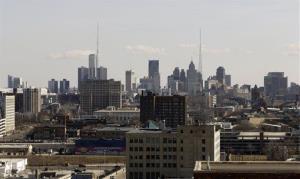 The skyline of Detroit.