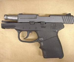 The Kel-Tec PF-9 9mm handgun George Zimmerman used to kill Trayvon Martin is seen in this file photo.