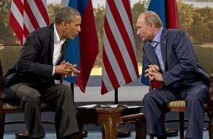 In this June 17, 2013, photo, President Obama meets with Vladimir Putin in Enniskillen, Northern Ireland.