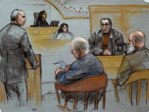 This courtroom sketch depicts Stephen The Rifleman Flemmi, upper right, on the witness stand as defendant James Whitey Bulger listens, seated middle.
