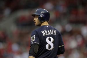 Milwaukee Brewers' Ryan Braun preparing to bat during a baseball game against the St. Louis Cardinals  in St. Louis.