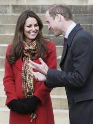 In this April 5, 2013, file photo, Britain's Prince William and Kate, Duchess of Cambridge, smile during a visit to Dumfries House in Dumfries, Scotland.