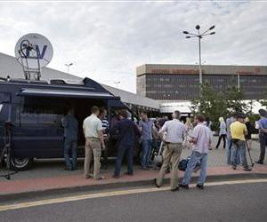 TV journalists are at Sheremetyevo airport outside Moscow, Russia, Friday, July 12, 2013.