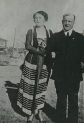 In this 1918 photo provided by the Tulsa Historical Society is Wyatt Tate Brady with his wife, Rachel.