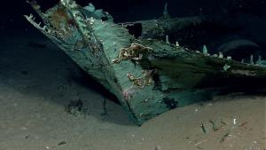 A copper shell of the shipwreck remains on the seafloor.