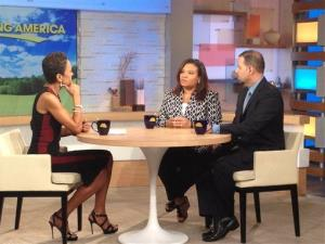 This image released by ABC shows host Robin Roberts, left, with juror B29 from the George Zimmerman trial, center, and attorney David Chico.