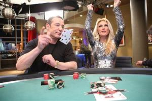 In this 2009 image released by Playboy TV, Sam Simon and Playboy playmate Brande Roderick are shown during the taping of Sam's Game, a short-lived poker show of his for the Playboy Channel.