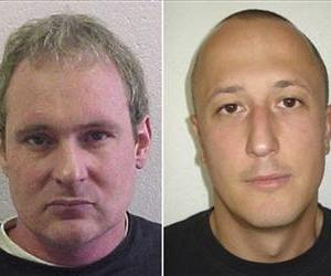 These wanted photos show fugitives Adrian Albrecht, left, and Milan Poparovic, who escaped from a Swiss prison on Thursday, after accomplices rammed a gate and fired at guards, police said Friday.
