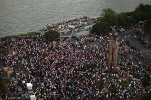 Supporters of Egypt's top military officer, Gen. Abdel-Fatah el-Sissi, rally near Tahrir Square.