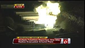 This frame grab provided by WKMG TV shows the fire at the Blue Rhino plant in Tavares City, Florida.