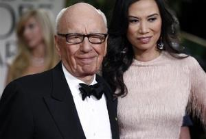 Rupert Murdoch and his wife Wendi arrive at the 69th Annual Golden Globe Awards in Los Angeles last year.
