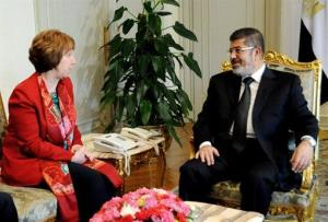 Mohamed Morsi and Catherine Ashton in a less secretive meeting earlier this year.