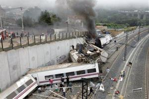 Emergency personnel respond to the scene of the train wreck in Spain.