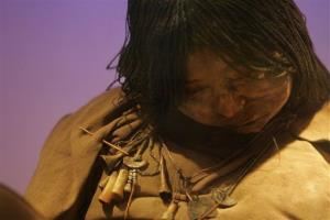 The mummy La Doncella or The Maiden sits on display at the High Mountain Archeological Museum in Salta, Argentina.