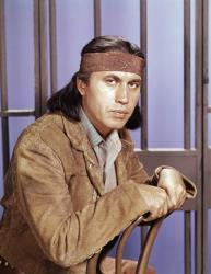 A 1960 photo of actor Michael Ansara on location for the TV series 'Law of the Plainsman.'