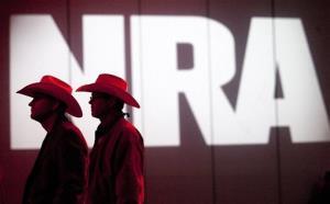 NRA members listen to speakers during the NRA Annual Meeting of Members.