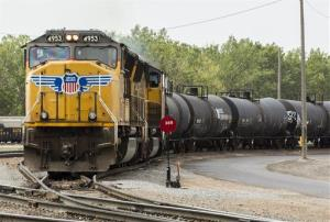 The Union Pacific train's load included sodium hydroxide and highly flammable vinyl chloride.