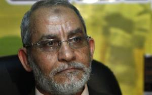 In this Tuesday, Nov. 30, 2010 file photo, Mohammed Badie attends a press conference at the Muslim Brotherhood's parliamentary office in Cairo.