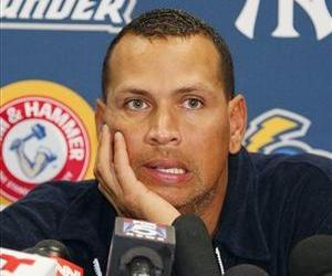 In this Aug. 2, 2013, file photo, Alex Rodriguez answers questions from reporters during a news conference following a Class AA baseball game with the Trenton Thunder.