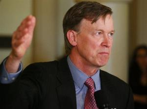 Colorado Gov. John Hickenlooper speaks at a news conference at the Capitol in Denver on Wednesday, May 22, 2013.