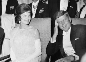 This Jan. 20, 1961, file photo shows President John F. Kennedy and first lady Jacqueline Kennedy as they attend one of five inaugural balls in Washington.