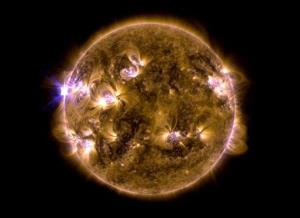This blend of two images taken by NASA's Solar Dynamics Observatory shows a solar eruption that occurred on May 12, 2013.