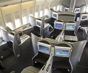 This Oct. 28, 2011 file photo shows the new first class interior section of a United Airlines 747 plane at San Francisco International Airport.
