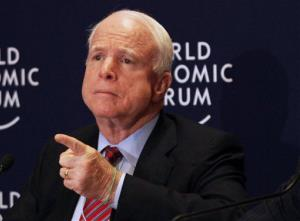 In this May 25, 2013 file photo, Sen. John McCain speaks at a news conference at the World Economic Forum.