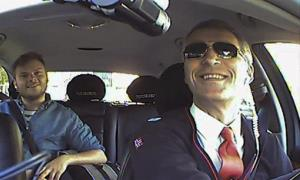Norwegian Prime Minister Jens Stoltenberg, takes the role of a taxi driver in Oslo, Norway, as a part of the election campaign for Norwegian Labour Party.