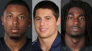 From left, JaBorian McKenzie, Brandon Vandenburg, and Cory Batey are seen in these photos from Vanderbilt University.