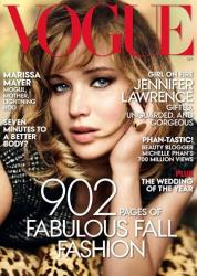 This magazine cover image shot by Mario Testino  and released by Vogue shows actress Jennifer Lawrence on the cover of the September 2013 issue.