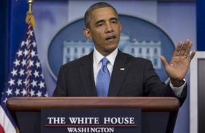 President Obama gestures speaks during the daily news briefing at the White House on July 19.