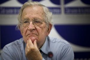 Noam Chompsky, US linguist and  political critic, gestures during a talk at the press club in Geneva, Switzerland, Friday, July 26, 2013.