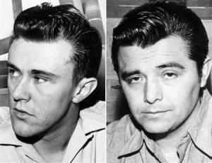 This combo made from file photos shows Richard Hickock, left, and Perry Smith, the two men hanged for the Nov. 15, 1959 murders of Herb and Bonnie Clutter and their children in Holcomb, Kan.