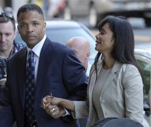 Former Illinois Rep. Jesse Jackson Jr. and his wife, Sandra, arrive at federal court in Washington Wednesday.