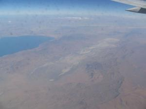Winnemucca Lake is the dry area to the right of Pyramid Lake, the blue lake to the left.