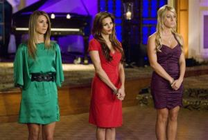 From left, Tenley Molzahn, Gia Allemand, and Vienna Girardi, competing for 32-year-old commercial flight instructor Jake Pavelka, are shown on The Bachelor: On the Wings of Love.